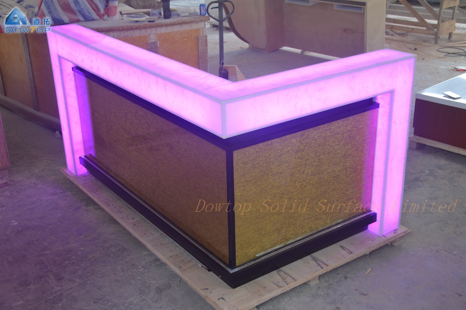 Translucent marble bar counter
