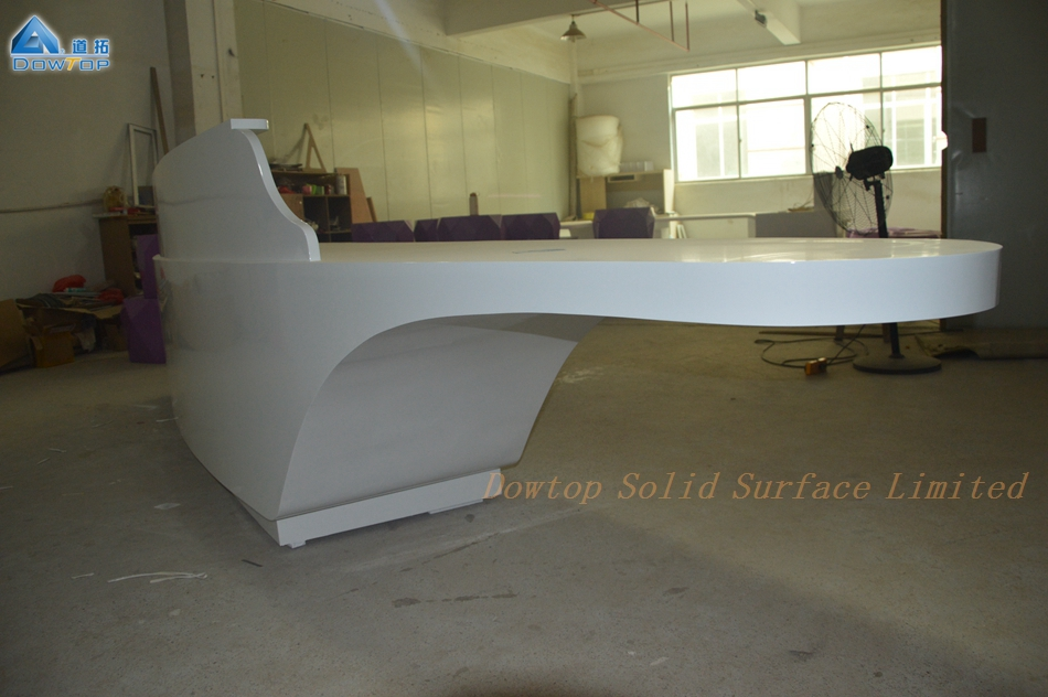Luxury Acrylic Solid Surface Reception Desk Beauty Salon Counter