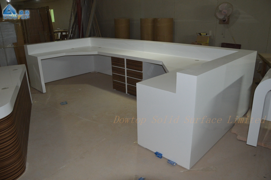 Modern White Marble Clinic Reception Desk Counter